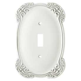 Brainerd 1-Gang White Antique Toggle Wall Plate