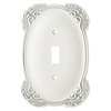 Brainerd 1-Gang White Antique Standard Toggle Metal Wall Plate