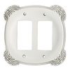 Brainerd 2-Gang White Antique Decorator Rocker Metal Wall Plate