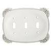 Brainerd 3-Gang White Antique Standard Toggle Metal Wall Plate