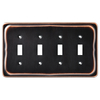 Brainerd 4-Gang Bronze with Copper Highlights Toggle Wall Plate