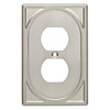 Brainerd 1-Gang Satin Nickel Standard Duplex Receptacle Metal Wall Plate