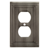allen + roth Lexington 1-Gang Brushed Nickel Standard Duplex Metal Wall Plate