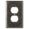 allen + roth Fairhope 1-Gang Antique Pewter Standard Duplex  Metal Wall Plate
