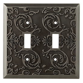 allen + roth Fairhope 2-Gang Antique Pewter Toggle Wall Plate