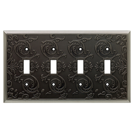 allen + roth Fairhope 4-Gang Brushed Pewter Standard Toggle Metal Wall Plate