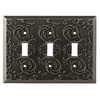 allen + roth Fairhope 3-Gang Antique Pewter Toggle Wall Plate