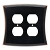 allen + roth Ivorten 2-Gang Bronze with Copper Highlights Standard Duplex Receptacle Metal Wall Plate