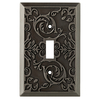 allen + roth Fairhope 1-Gang Antique Pewter Standard Toggle Metal Wall Plate