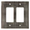 allen + roth Lexington 2-Gang Brushed Nickel Decorator Rocker Metal Wall Plate