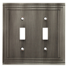 allen + roth Lexington 2-Gang Brushed Nickel Standard Toggle Metal Wall Plate
