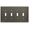 allen + roth Lexington 4-Gang Brushed Nickel Standard Toggle Metal Wall Plate