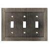 allen + roth Lexington 3-Gang Brushed Nickel Standard Toggle Metal Wall Plate
