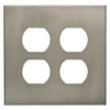 allen + roth Linden 2-Gang Satin Nickel Standard Duplex Receptacle Metal Wall Plate