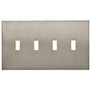 allen + roth Linden 4-Gang Satin Nickel Standard Toggle Metal Wall Plate