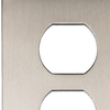 allen + roth Linden 1-Gang Satin Nickel Standard Duplex Receptacle Metal Wall Plate