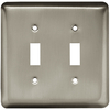 Style Selections Stamped Round 2-Gang Satin Nickel Double Toggle Wall Plate