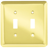 Style Selections Stamped Round 2-Gang Polished Brass Standard Toggle Steel Wall Plate