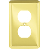 Style Selections Stamped Round 1-Gang Polished Brass Standard Toggle Steel Wall Plate