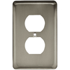 Style Selections Stamped Round 1-Gang Satin Nickel Standard Duplex Receptacle Steel Wall Plate