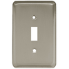 Style Selections Stamped Round 1-Gang Satin Nickel Standard Toggle Steel Wall Plate