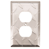 Brainerd Diamond Plate 1-Gang Satin Nickel Standard Single Receptacle Steel Wall Plate
