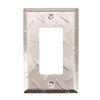 Brainerd Diamond Plate 1-Gang Satin Nickel Decorator Rocker Steel Wall Plate