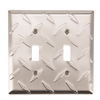 Brainerd Diamond Plate 2-Gang Satin Nickel Standard Toggle Steel Wall Plate