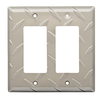Brainerd Diamond Plate 2-Gang Satin Nickel Electoplating Decorator Rocker Steel Wall Plate