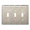 Brainerd Diamond Plate 3-Gang Satin Nickel Electoplating Standard Toggle Steel Wall Plate
