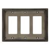 Brainerd Beaded 3-Gang Brushed Satin Pewter Decorator Rocker Metal Wall Plate