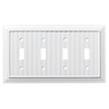 Brainerd Beadboard 4-Gang Pure White Quad Toggle Wall Plate