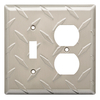 Brainerd Diamond Plate 2-Gang Satin Nickel Wall Plate