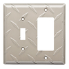 Brainerd Diamond Plate 2-Gang Satin Nickel Single Toggle/Decorator Wall Plate