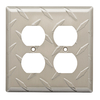 Brainerd Diamond Plate 2-Gang Satin Nickel Electoplating Standard Duplex Receptacle Steel Wall Plate