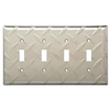 Brainerd Diamond Plate 4-Gang Satin Nickel Electoplating Standard Toggle Steel Wall Plate