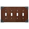Brainerd Rowland 4-Gang Brown Standard Toggle Composite Wood Wall Plate