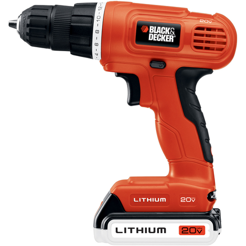 "Zoomed: BLACK & DECKER 20-Volt 3/8"" Cordless Lithium Ion Drill/Driver"