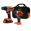 BLACK & DECKER 2-Tool 20-Volt Lithium Ion Cordless Combo Kit with Soft Case