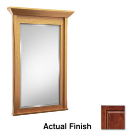 KraftMaid 24-in W x 36-in H Antique Chocolate with Mocha Glaze Rectangular Bathroom Mirror