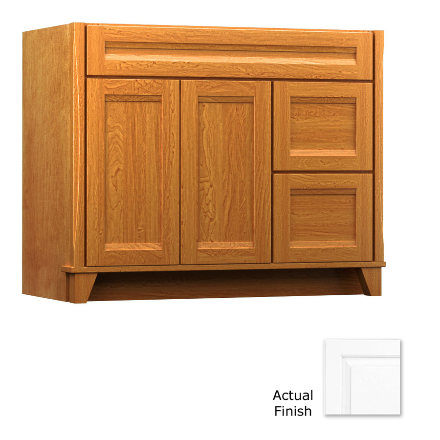 Shop kraftmaid tribecca sonata dove white contemporary for Bathroom cabinets kraftmaid