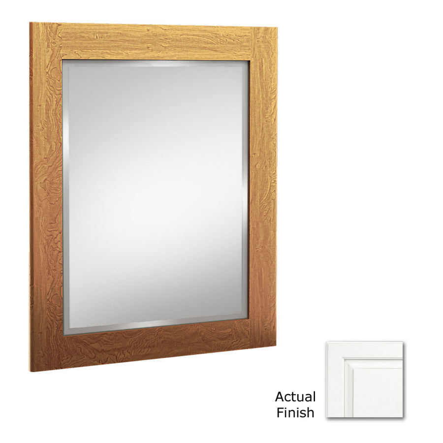 36 in h x 24 in w white rectangular bathroom mirror at