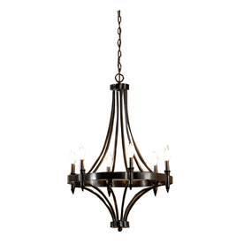 allen + roth 24-in 6-Light Distressed Iron Rustic Standard Chandelier
