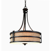 allen + roth 20-in W Textured Rustic Iron Pendant Light with Fabric Shade