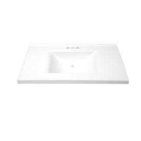 allen + roth Eagle Solid White Cultured Marble Integral Single Sink Bathroom Vanity Top (Actual: 37-in x 22-in)