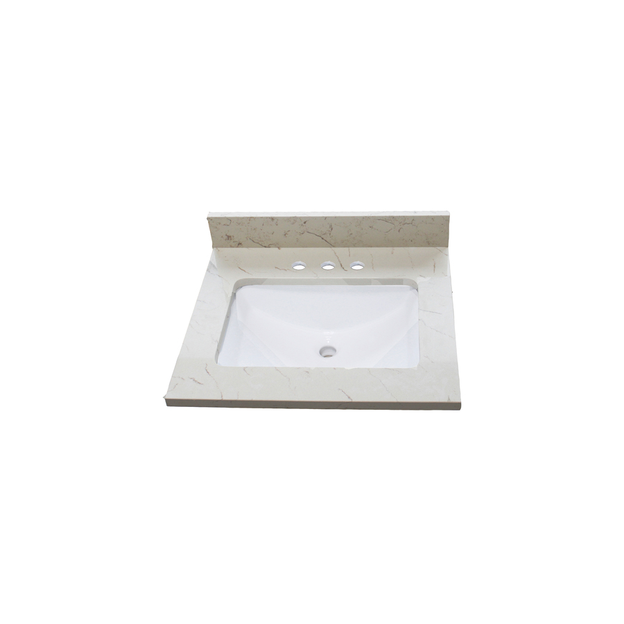 Shop allen roth eagle giallo quartz undermount single for Bathroom quartz vanity tops