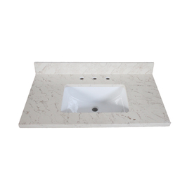 allen + roth Eagle Giallo Quartz Undermount Bathroom Vanity Top (Common: 37-in x 22-in; Actual: 37-in x 22-in)
