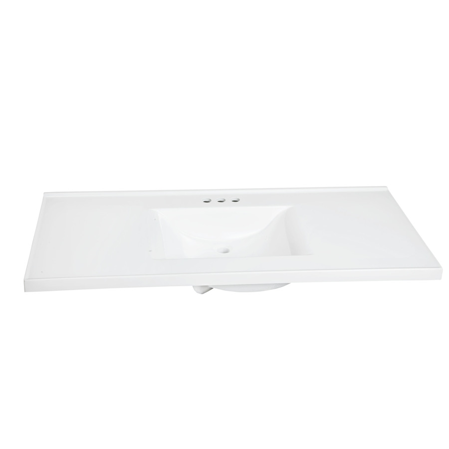 Shop style selections solid white cultured marble integral single sink bathroom vanity top - Bathroom vanity tops cultured marble ...