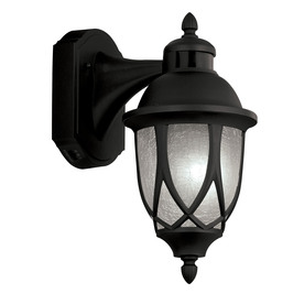 Portfolio 13-in H Black Motion Activated Outdoor Wall Light