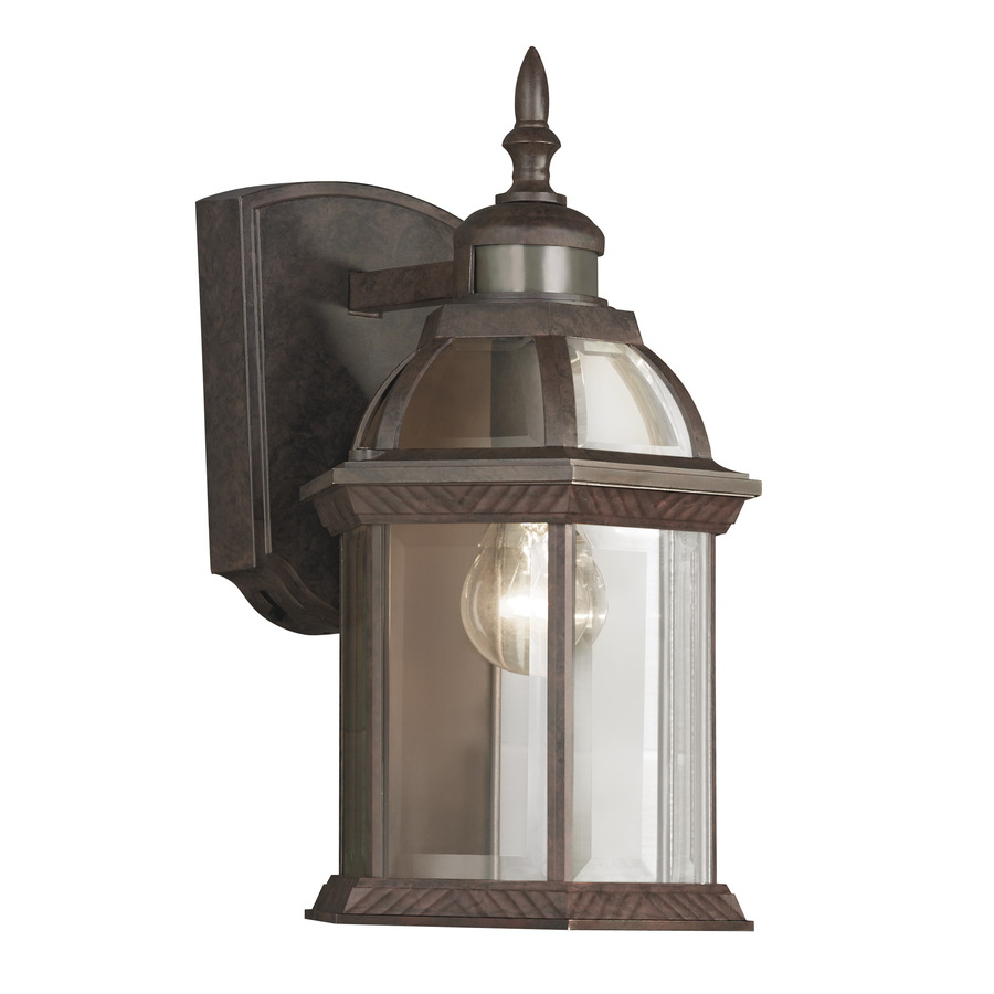 Shop Portfolio 14 5 In H Bronze Motion Activated Outdoor Wall Light At